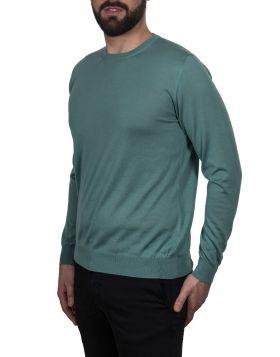 Pullover Girocollo Verde 70%Cashmere 30%Seta