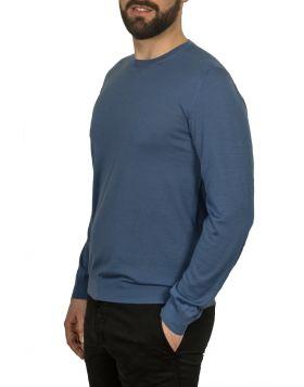 Pullover Girocollo Azzurro 70%Cashmere 30%Seta