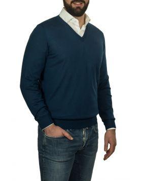 Pullover Scollo V Navy 70%Cashmere 30%Seta
