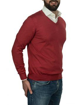 Pullover Scollo V Corallo 70%Cashmere 30%Seta