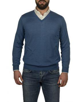 Pullover Scollo V Azzurro 70%Cashmere 30%Seta-M