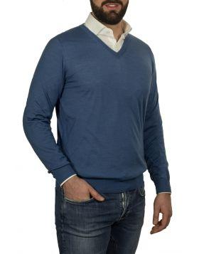 Pullover Scollo V Azzurro 70%Cashmere 30%Seta