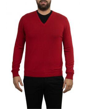 Pullover Scollo V Rosso 100% Cashmere