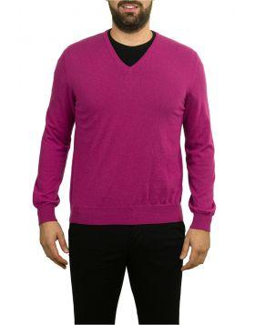 Pullover Scollo V Ciclamino 100% Cashmere
