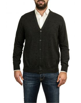 Anthracite Cardigan Wool Silk Cashmere