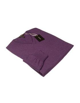 Pullover Scollo V Viola 100% Cashmere-S