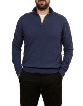 Lupetto Con Zip Azzurro 100% Cashmere