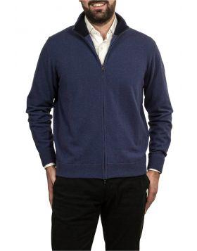 Giacca Con Zip Azzurro 100% Cashmere