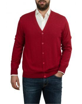Red Cardigan Wool Silk Cashmere