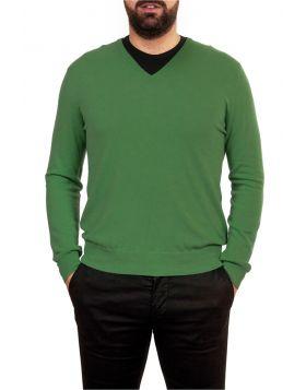 Pullover Scollo V Verde 100% Cashmere