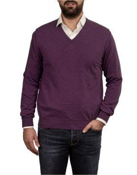 Pullover Scollo V Viola 100% Cashmere