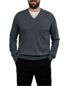 Pullover Scollo V Azzurro 100% Cashmere