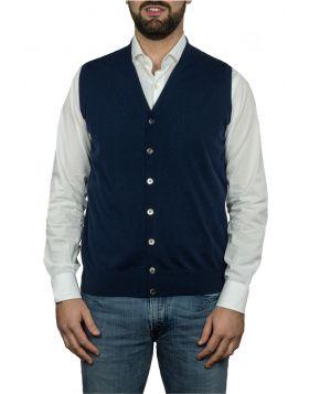 Blue Navy Waistcoat 100% Cashmere