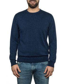 Pullover Girocollo Blu Navy 100% Cashmere