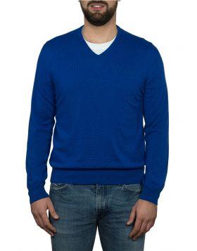 Pullover Scollo V 100% Cashmere Blu Elettrico
