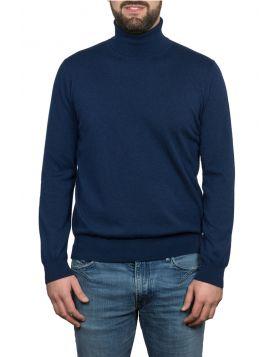 Blue Navy Turtleneck Pullover 100% Cashmere