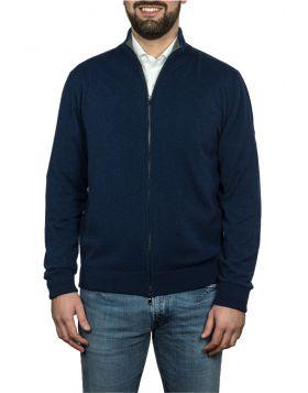 Giacca Con Zip Blu Navy 100% Cashmere