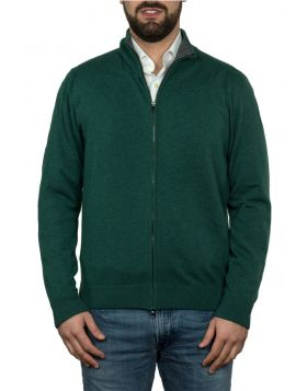 Giacca Con Zip Verde 100% Cashmere