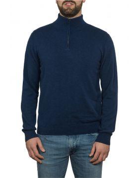 Blue Navy Mock Turtleneck With Zip 100% Cashmere