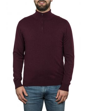 Lupetto Con Zip Bordeaux 100% Cashmere