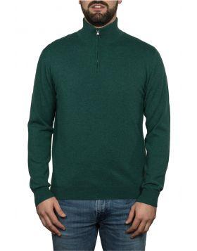 Lupetto Con Zip Verde 100% Cashmere