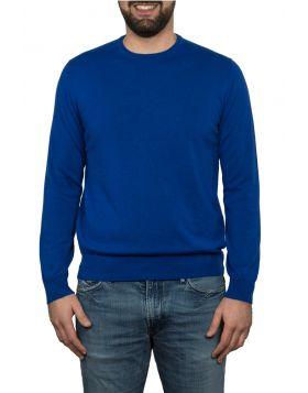 Pullover Girocollo 100% Cashmere  Blu Elettrico