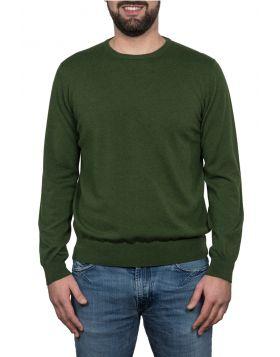Pullover Girocollo Verde Militare 100% Cashmere