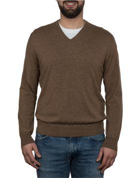 Pullover Scollo V 100% Cashmere Beige