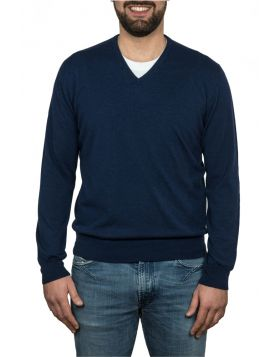 Navy Blue V-Neck Pullover 100% Cashmere
