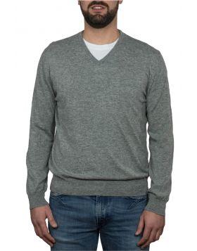 Pullover Scollo V 100% Cashmere Grigio Chiaro