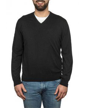 Pullover Scollo V 100% Cashmere Nero