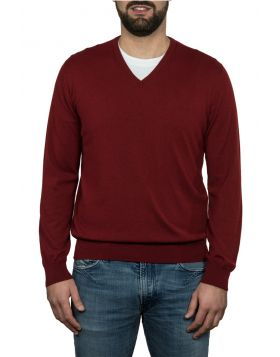 Pullover Scollo V 100% Cashmere Ruggine