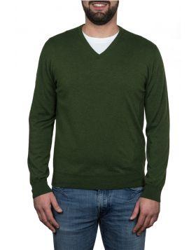 Pullover Scollo V 100% Cashmere Verde Militare